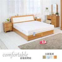 時尚屋 [WG5]貝絲北歐床箱型4件房間組-床箱+床底+床頭櫃1個+床墊1WG5-2+5031+3W+GA18-5