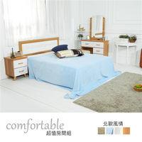 時尚屋 [WG5]貝絲北歐床片型4件房間組-床片+床底+床頭櫃1個+床墊1WG5-1+5031+3W+GA18-5
