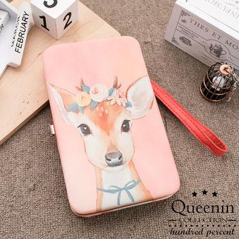 DF Queenin皮夾 - 韓版萌萌系硬殼式手機手拿包