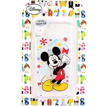 【Disney】HTC Desire 728 花朵系列 彩繪透明保護軟套-米奇