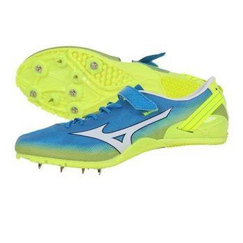 【MIZUNO】GEO SPRINT 2 男女田徑釘鞋- 短距離 跨欄 水藍螢光黃