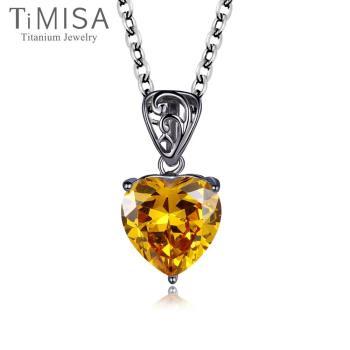 【TiMISA】心戀-黃鑽 純鈦項鍊(E)