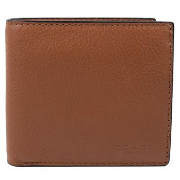 COACH 75003 經典LOGO烙印質感皮革零錢袋中短夾.咖