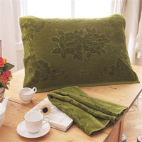 HO KANG 繽紛純棉枕巾-深綠 2入