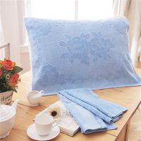 HO KANG 繽紛純棉枕巾-淺藍 2入