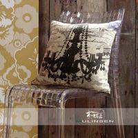 【協貿】時尚水晶吊燈圖案個性黑白方形抱枕含芯