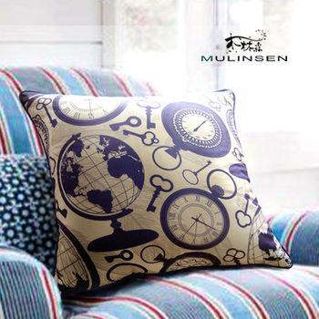 【協貿】時尚藍色航海地球儀時鐘鑰匙方形抱枕含芯