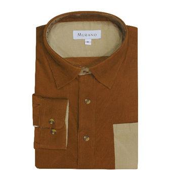 【MURANO】男款休閒撞色燈芯絨長袖襯衫 - 咖啡 / 卡其