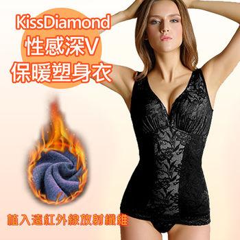 【KissDiamond】性感深v保暖塑身衣-H902-黑(布料植入遠紅外線放射纖維)