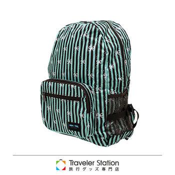 《Traveler Station》HAPI+TAS 摺疊後背包 新款-121綠色線條蝴蝶結