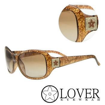 【Lover】精品橘色花紋太陽眼鏡(9128)