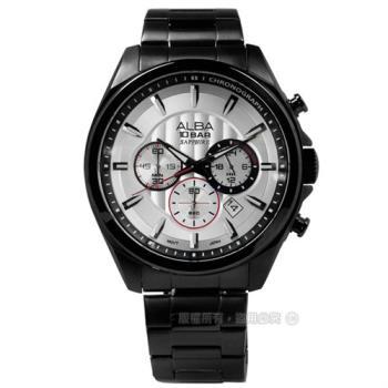 ALBA / VD53-X219SD.AT3829X1 菁英質感系三環計時不鏽鋼腕錶 銀x鍍黑 45mm
