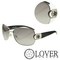 【Lover】精品優雅方框金屬灰黑太陽眼鏡(9314-65-16-116)