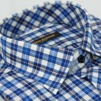 【金安德森】藍中格紋保暖窄版長袖襯衫