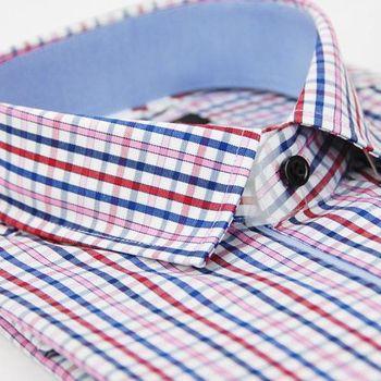 【金安德森】藍紅粉格紋純棉窄版長袖襯衫