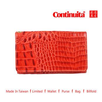 【Continuita 康堤尼】台灣手工真皮包 MIT 多功能手機套 (鱷魚紅)