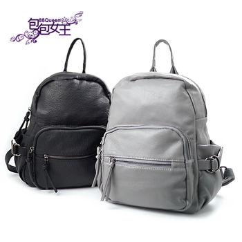 【88Queen❤包包女王】正韓空運★時尚水洗皮紋多口袋後背包-二色可選
