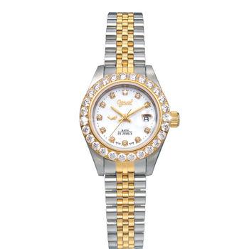 瑞士愛其華 Ogival-閃耀新情 晶鑽自動機械女錶(金銀雙色) 303271DLSK