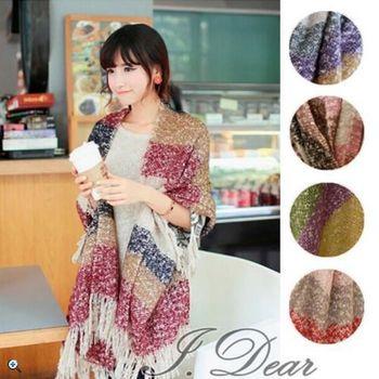 【I.Dear】韓系經典-韓版明星經典撞色條紋海馬毛針織圍巾(3色)
