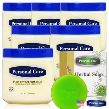 【美國原裝Personal Care】柏詩克萊溫和凡士林369g六入(贈本草親膚皂1入)