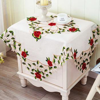 【協貿】高檔精美面料鏤空雕刻繡高端紅玫瑰桌布