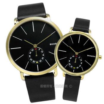 SKAGEN / SKW6217.SKW2354 / Hagen 簡約俐落曲線輕薄真皮腕錶 黑x金框 40mm+34mm