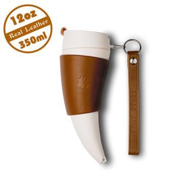 【Goat Story】Goat Mug 真皮款山羊角咖啡杯 12oz/350ml - 咖啡色