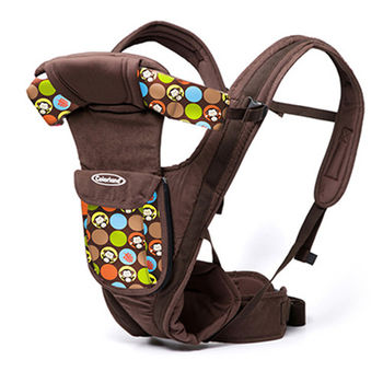 【Colorland】多功能前抱式便攜嬰兒揹帶(咖啡泡泡猴)