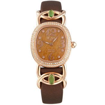 HOGA浪慢柔情寶石面盤真鑽腕錶-孔雀石/虎眼石-25mm
