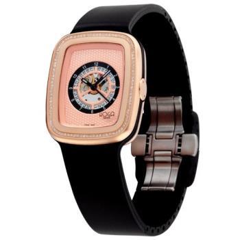 HOGA 義式風格鏤空真鑽機械腕錶-黑/玫瑰金-33mm