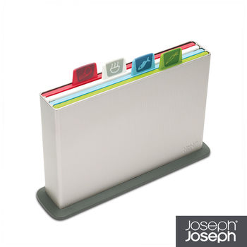 《Joseph Joseph英國創意餐廚》檔案夾止滑砧板(小銀)-附凹槽設計-60026