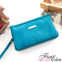 DF Flor Eden - 真皮單拉鍊皮夾手拿包-共3色