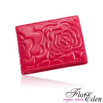 DF Flor Eden皮夾 - 玫瑰情意立體壓紋真皮款短夾