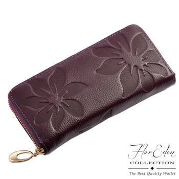 DF Flor Eden皮夾 - 山茶花真皮壓紋款單拉鍊長夾-共6色