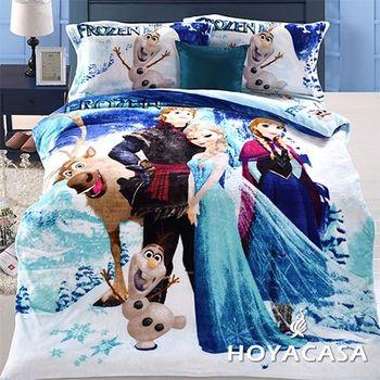 【HOYACASA 冰雪奇緣】雙人四件式法萊絨被套冬包組