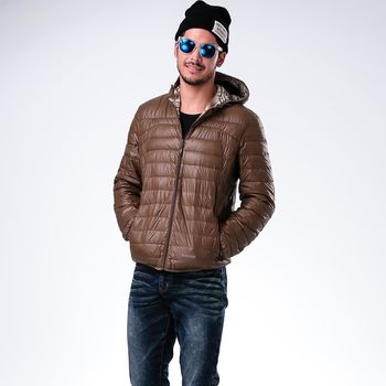 JORDON冬季必敗男款雙配色橫紋輕量羽絨外套(975)