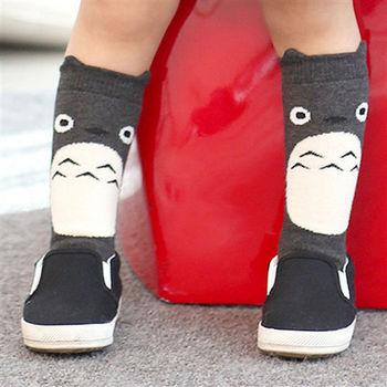 動物造型防滑純棉加厚短襪【3雙入】-深灰龍貓+兩雙隨機