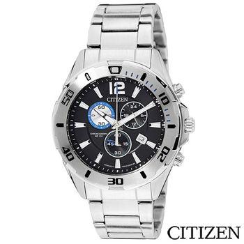CITIZEN星辰 經典賽車概念三眼計時腕錶 AN7110-56E