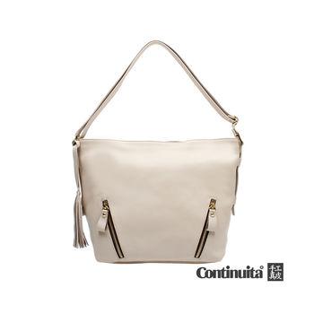 【Continuita 康緹尼】台灣手工真皮包 時尚小牛皮流蘇水桶包 (3色)