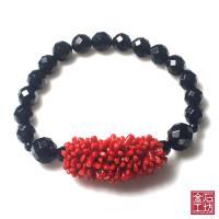 【金石工坊】天然唯美紅珊瑚黑麻腦手鍊
