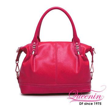 DF Queenin日韓 - 韓版甜美桑摩款手提斜背2用包-共2色