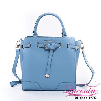 DF Queenin日韓 - 韓版摩登立體皮帶質感手提包-共2色