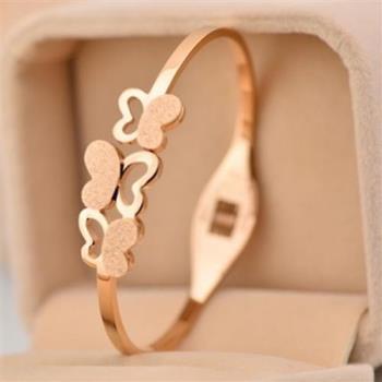 【米蘭精品】玫瑰金磨砂純銀手環三隻蝴蝶飾品