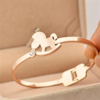 【米蘭精品】玫瑰金鑲鑽純銀手環可愛小木馬飾品
