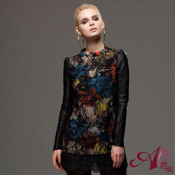 【A3 】時髦風格-花卉羊皮長版上衣