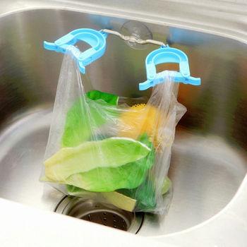 【Bunny】廚房帶吸盤雙夾抹布海綿水槽垃圾袋置物架