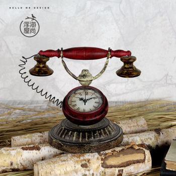 【協貿】家裝電話機擺設裝飾品創意座鐘擺件