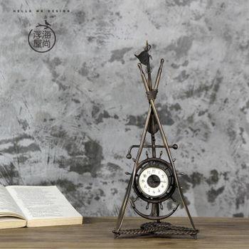 【協貿】複古仿古金屬家居裝飾品擺件創意三腳架桌鐘