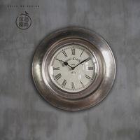 【協貿】複古歐式圓形靜音創意客廳金屬石英壁鐘A款