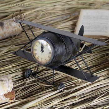 【協貿】復古仿舊鐵藝老式戰鬥機模型擺件鐘錶